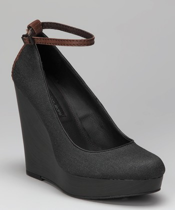 Black Waxed Denim Harla Platform Wedge