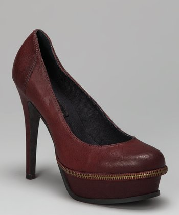 Dark Red Gabby Platform Pump