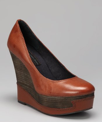 Tobacco Berry Platform Wedge Pump