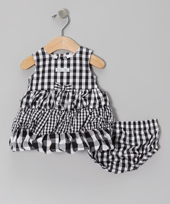 Black Gingham Bubble Dress & Diaper Cover