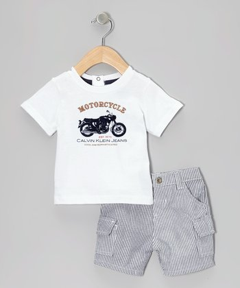 White Motorcycle Tee & Pinstripe Shorts
