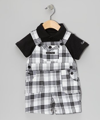 Black Polo & Plaid Shortalls