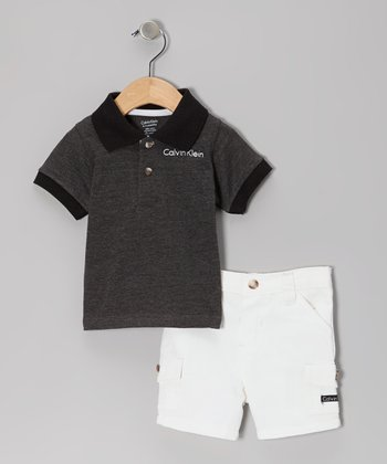 Charcoal Polo & White Shorts