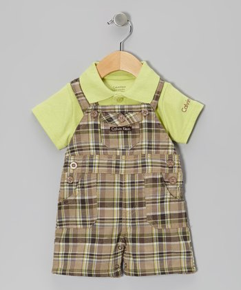 Green Polo & Plaid Shortalls