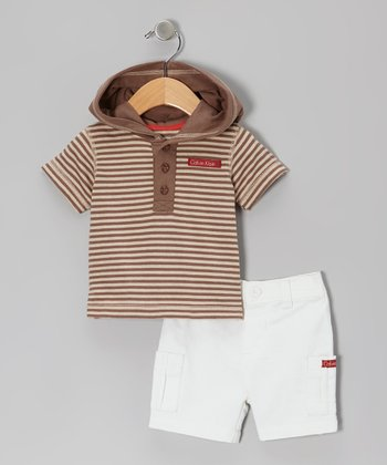 Brown Stripe Tee & White Shorts