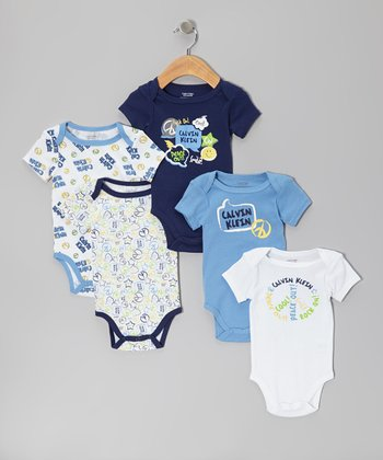Blue 'Peace Out!' Bodysuit Set