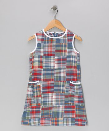 Blue & Red Madras Shift Dress - Girls