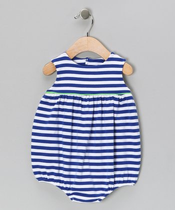 Blue Stripe Jersey-Knit Bubble Bodysuit - Infant