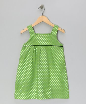 Kelly Green Polka Dot Swing Dress - Girls