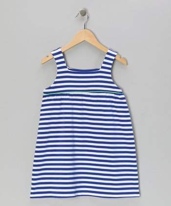 Blue Stripe Jersey Knit Swing Dress - Girls