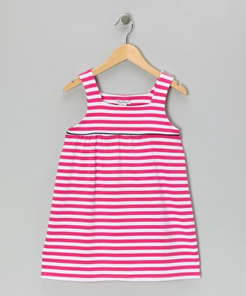 Pink Stripe Jersey Knit Swing Dress - Girls