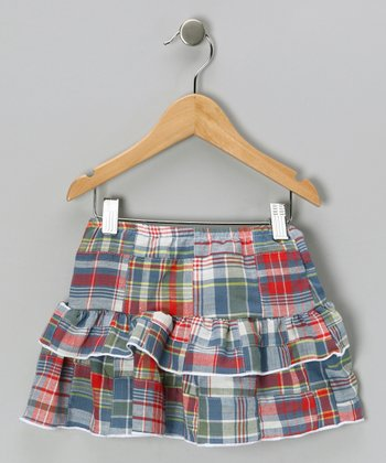 Blue & Red Madras Plaid Skirt - Girls