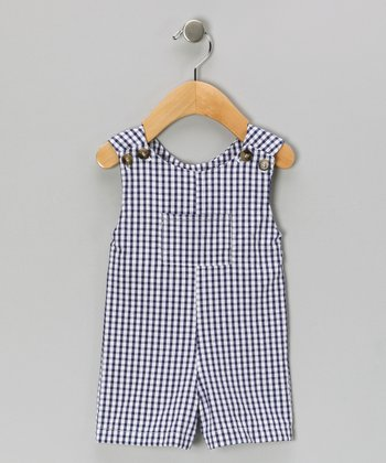 Navy Seersucker Shortalls - Infant