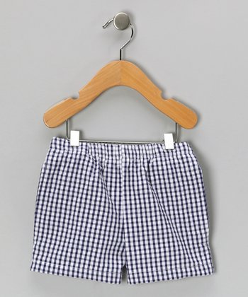 Navy Seersucker Shorts - Boys