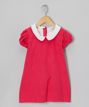 Hot Pink Corduroy Puff-Sleeve Dress - Infant, Toddler & Girls