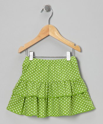 Kelly Green Polka Dot Ruffle Skirt - Toddler & Girls
