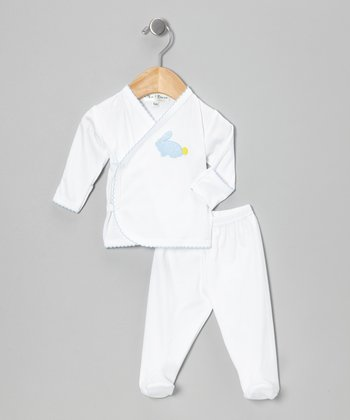 Blue Bunny Wrap Top & Footie Pants - Infant
