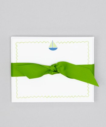 Green Sailboat Note Card Set