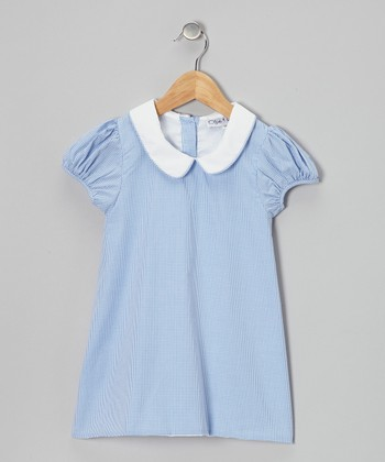 Blue Gingham Puff-Sleeve Dress - Infant, Toddler & Girls