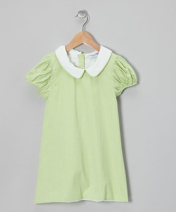 Green Gingham Puff-Sleeve Dress - Infant, Toddler & Girls