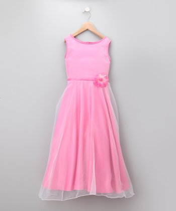 Fuchsia Chiffon Party Dress - Girls