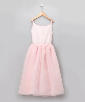 Pink Pastel Sequined Floral Tulle Dress