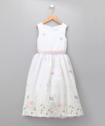 White Butterfly Embroidered Chiffon Dress - Infant & Girls
