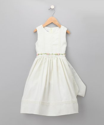 Ivory Floral Dress - Toddler & Girls