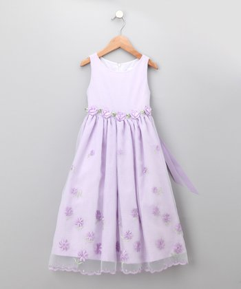 Lilac Gingham Embroidered Rosette Dress - Infant, Toddler & Girls