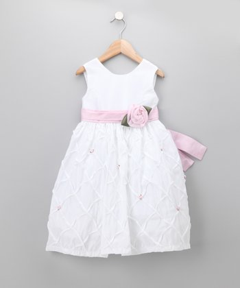 White Crinkle Rosette Dress