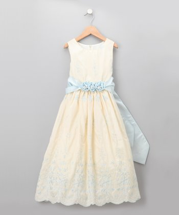 Yellow & Blue Pastel Embroidered Rosette Dress - Girls