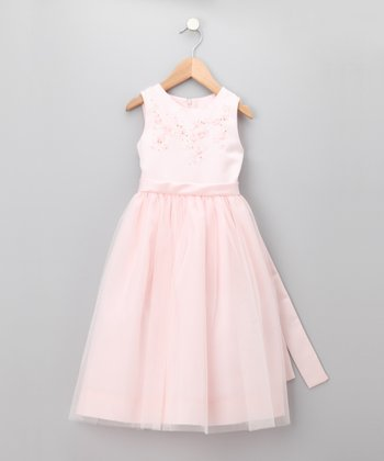 Pink Pastel Beaded Floral Tulle Dress - Infant, Toddler & Girls