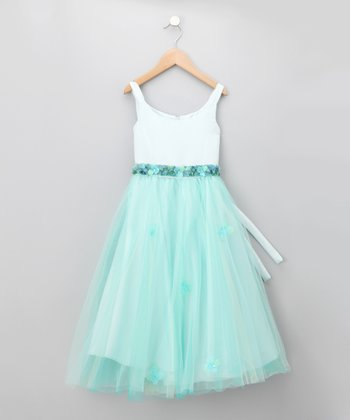 Light Blue & Aqua Floral Tulle Dress - Girls