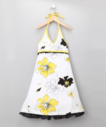 White & Yellow Floral Halter Dress - Girls