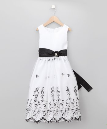 Black & White Floral Chiffon Dress