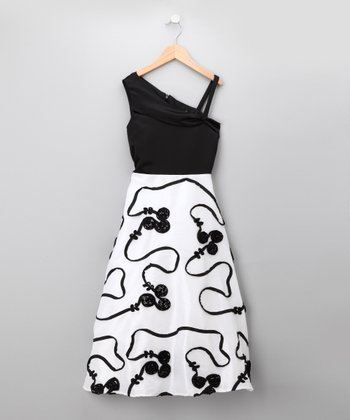 Black & White Floral Asymmetrical Dress