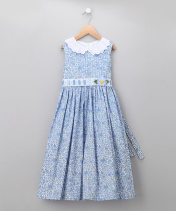Periwinkle Collared Daisy Dress - Girls