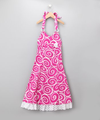 White & Fuchsia Swirl Halter Dress - Girls