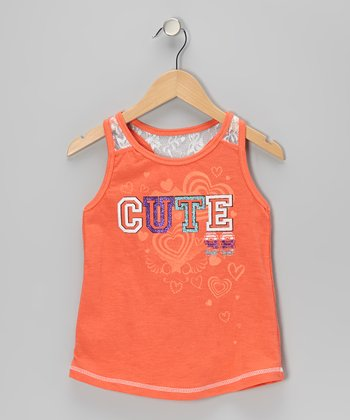 Pink Glitter 'Cute' Lace Tank - Toddler & Girls