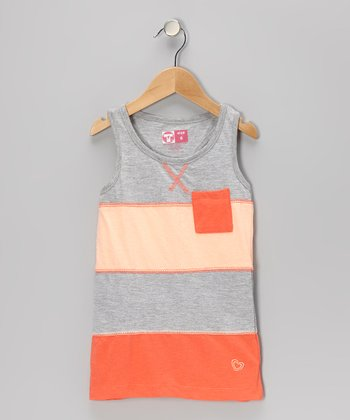 Pink & Gray Bold Stripe Tank - Toddler & Girls