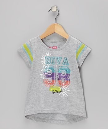 Gray Glitter 'Glam' Uniform Tee - Girls