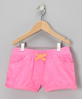 Pink Shirred Shorts - Girls