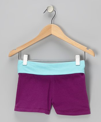 Purple Glitter 'Glam' Shorts - Toddler & Girls