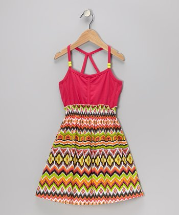 Pink Ikat Dress - Girls
