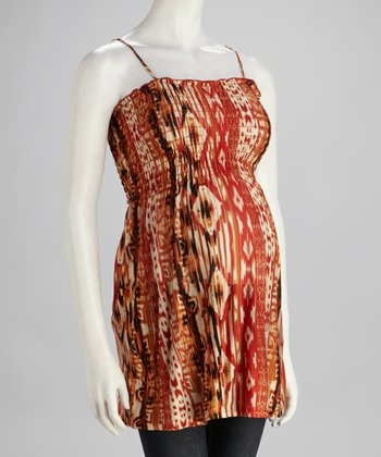 Orange Ikat Maternity Tank - Women