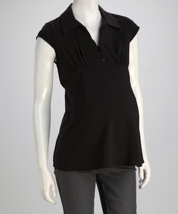 Black Cap Sleeve Maternity Top
