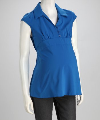 Blue Maternity Cap-Sleeve Top - Women