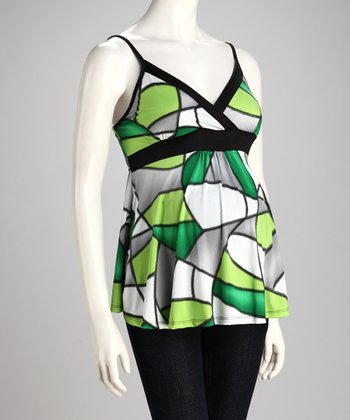 Green Geometric Maternity Surplice Tank - Women