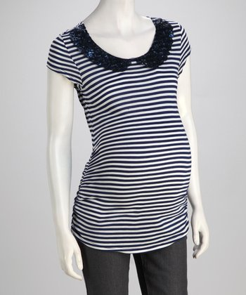 Navy Peter Pan Collar Maternity Tee