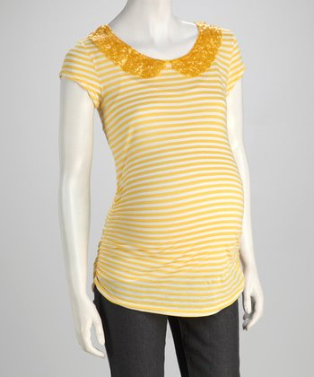 Yellow Peter Pan Collar Maternity Tee - Women